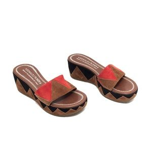 Donald Pliner Cognac/Black/Orange Suede Slides